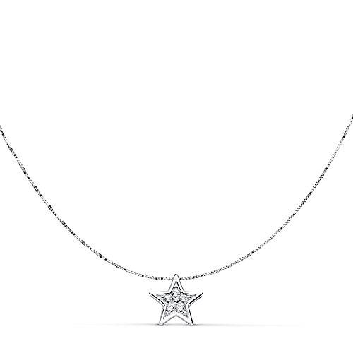Foulard 18k blanc star pendentif en or 6.5mm. 42cm. [AA7326]