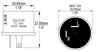 Blazer FL552/536 Turn Signal Flasher Relay, 2 Prongs, 12 Volts, Turn on
