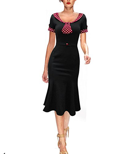 Black Womens Polka Knot REMASIKO Vintage 1950s Cocktail Dress Party Dot Elegant Bow 6P4qBSqw1