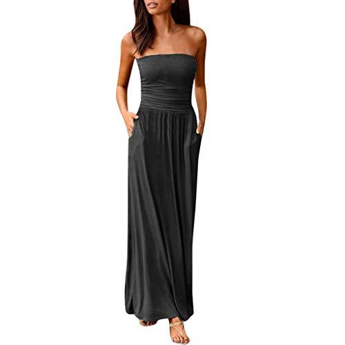 - TUSANG Womens Skirts Bandeau Holiday Off Shoulder Long Dress Ladies Summer Solid Maxi Dress Slim Fit Comfy Dress Gray