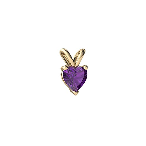 14kt Yellow Gold Amethyst 5mm Heart Solitaire Pendant ()