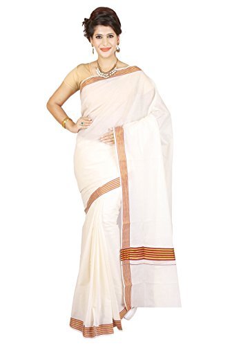 JISB stripe border kerala kasavu Cotton Saree with Blouse (Stripe Saree)