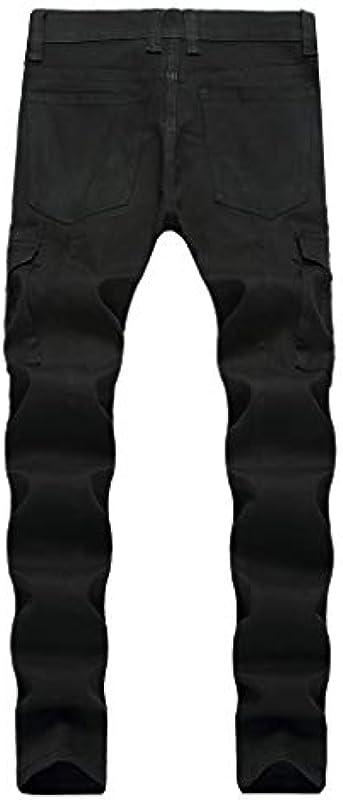Luotuo męskie spodnie jeansowe Slim Jeans w stylu brytyjskim dziurki dżinsy ciemne casual stretch proste dżinsy spodnie ołÓwkowe spodnie dresowe Streetwear: Odzież