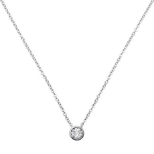 (.07ct 14kt White Gold Round Bezel Diamond Solitaire Pendant 18