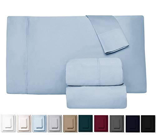 Kemberly Home Collection 600 Thread Count 100% Long Staple Egyptian Pure Cotton - Sateen Weave Premium Bed Sheets, 4 - Piece Sky Blue King- Size Luxury Sheet Set, Fits mattresses Upto 18