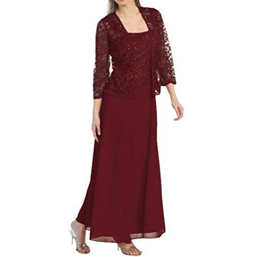 Aniywn Women Plus Size Two Piece Long Sleeve Party Dress Lace Solid Color Elegant Long Maxi Dress Mini Dresses Wine