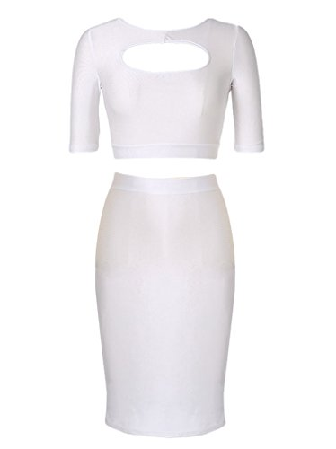OURS Women's Bodycon Skirt Set 2 Pieces 1/2 Sleeves Cocktail Bandage Dress (L)