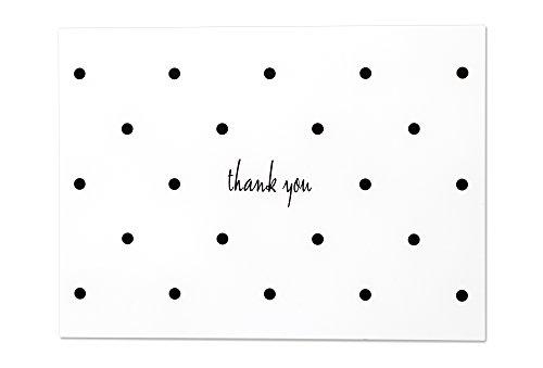 Polka Dot Thank You Card - 36 Blank Note Cards with White Envelopes (Black White) ()