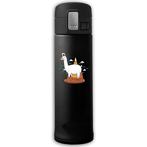 (Stainless Steel Mug White Llama And Mountain Bouncing Cover Insulation Vacuum Cup Bottle Thermos Mug)