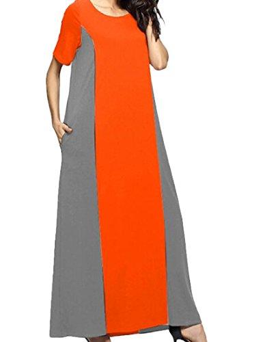 Sleeves Contrast Grey Color Long Coolred Short Loose Women's Dress UwEtaUqP