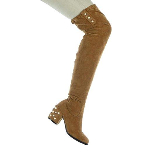 Angkorly Damen Schuhe Oberschenkel-Boot - Oberschenkel-Boot - Flexible - Perle Blockabsatz High Heel 7.5 cm Camel
