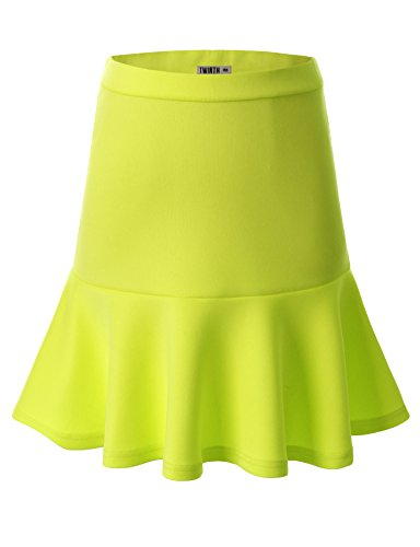 Doublju Women Comfortable Plus-size Skater Skirt LEMON,XL