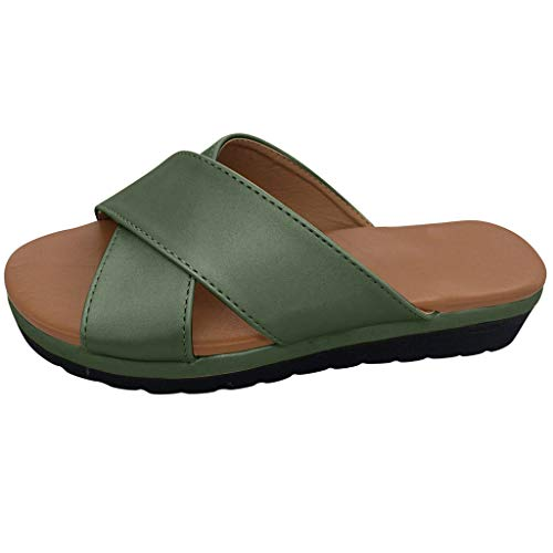 - TOTOD Slippers Sale Fashion Flats Open Toe Thick Bottom Wedges Home Beach Shoes Roman Sandals Green