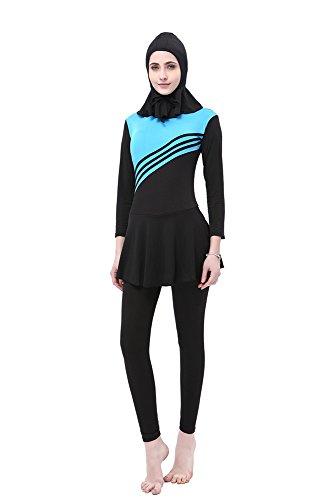 bagno Costumi modesto Blu Swimsuit Costumi da Burkini Islamiche interi Hijab pezzi BOZEVON Musulmano Donne 2 TzI7Iq