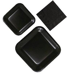 Black 16 Guest Party Supplies - 3 Piece Bundle Includes Dinner Plates, Dessert Plates & Napkins