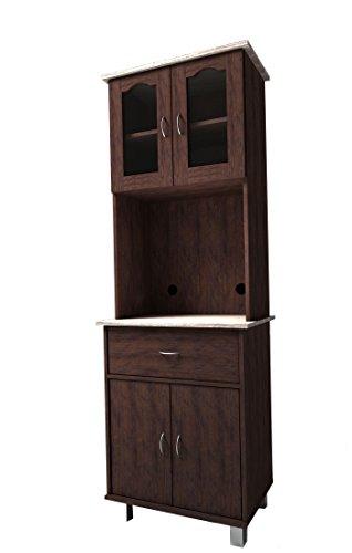 Hodedah HIK94 Choco-Grey Top and Bottom Enclosed Kitchen Cabinet, Chocolate -