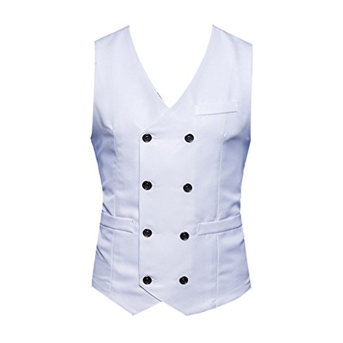 Gilet Yying Blanc V Robe Classique Slim Costume De Mariage Sans Hommes Fit Dress Formelle Col Manches qqnrSE0
