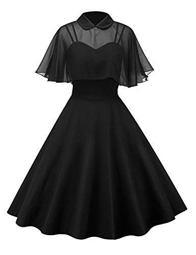 Gihuo Women's Two-Piece Peter Pan Collar Spaghetti Strap Midi Dress with Cape (Black, X-Small)