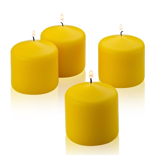 Citronella Pillar Candle - Set of 4 Summer Scented Citronella Candles - 3 inch Tall, 3 inch Thick - 36 Hour Burn Time - for Indoor/Outdoor Use - Made in USA