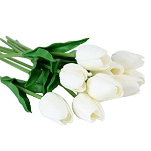 10PCS Fake Artificial Silk Tulips Flores Artificiales Bouquets Party Artificial Flowers for Home Wedding Decoration - 10 x Artific- Ornamental vases & Artificial Flowers Artificial Flowers - 86