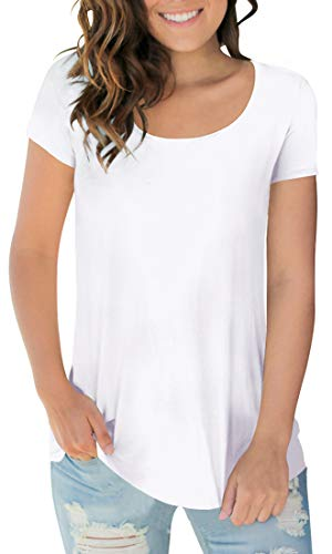 Women's Solid Color Short Sleeve Round Neck Tshirts Spring Basic Tops White M