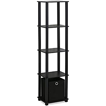 Amazoncom Furinno 15120BKBK Decorative Shelf With Bin Black
