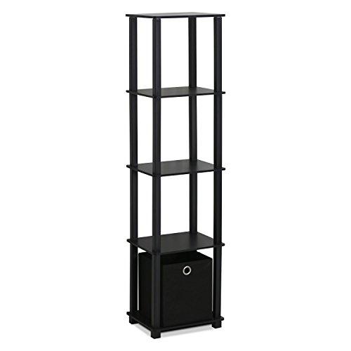 Furinno 15120BKBK Decorative Shelf with Bin, Black