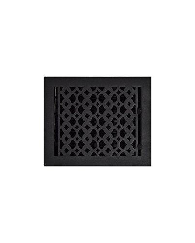 (Cast Iron Floor Register 8X10 Black - Durable Floor Register with Metal Damper for Home Décor, Heavy Duty, Hand Crafted, Sand Casted Home Decorative Hardware, Powder Coated Matte Flat - Black)