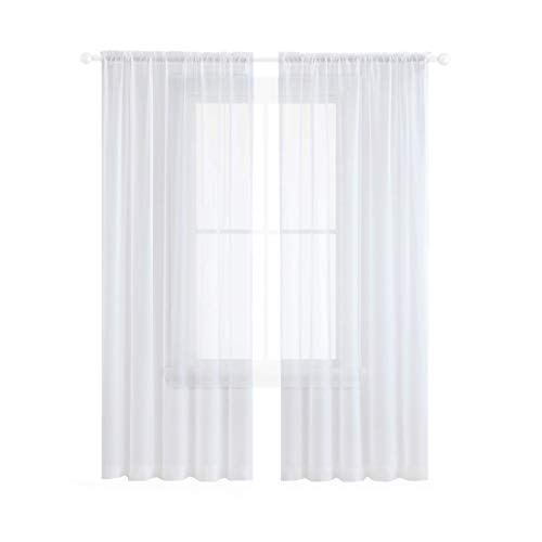 Anjee Sheer Curtains 84 Inches Long Rod Pocket Textured Solid White Voile Drapes for Bedroom & Living Room 54 Wide84inches Long 2 Panels