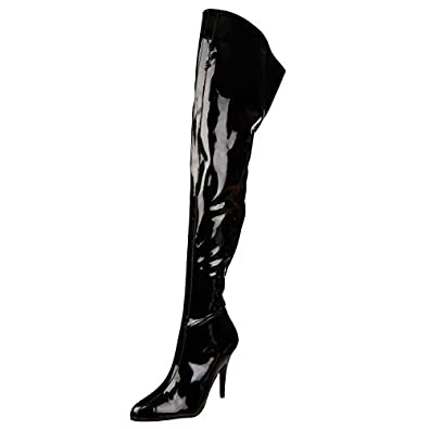 Amazon.com | Womens Sexy Thigh High Boots Wide Top Crotch Boots ...