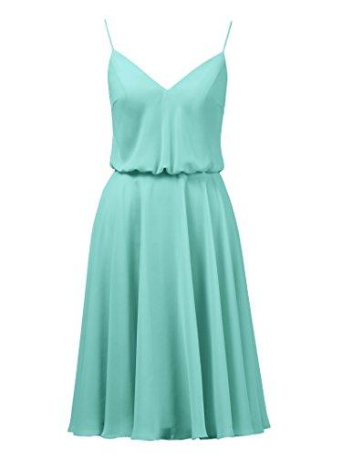 Aqua Chiffon Alicepub Party Prom blue Gown Spaghetti V Dress Short Bridesmaid Evening Neck 11SBaxPwUq