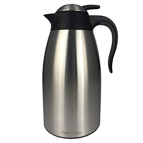 - Large Thermal Coffee Carafe 2L/68Oz - Double Wall Vacuum Insulated BPA Free Stainless Steel Easy Server Beverage Pitcher - Lab-Tested Hot and Cold Thermos Jug - 12 Hour Heat Retention Pot by Coffmax