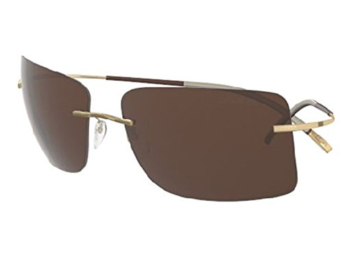 Silhouette TMA ICON Sunglasses Titanium Collection Best seller (matte gold/polarized brown lens, one size)