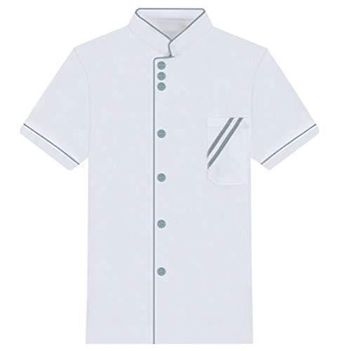 (gLoaSublim Chef Costume, Unisex Short Long Sleeve Chef Jacket Coat Hotel Kitchen Service Uniform Workwear White + Blue XXL Short Sleeve)
