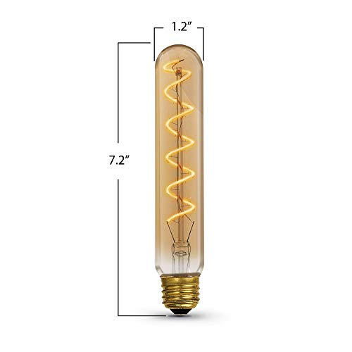 Feit Electric Oversized Vintage Exposed Curved Filament Amber Glass Soft White (2100K) Dimmable T10L LED Light Bulb (T10L/S/820/LED)