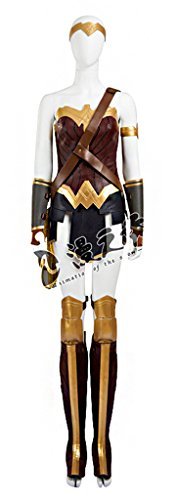 Mtxc Women's Wonder Woman Cosplay Costume Diana Prince Full Set Size Large Brown