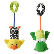 Game / Play Infantino Tag Along Chimes, Makes sweet soothing sounds to calm baby, Frog and Duck Toy / Child / (Tag Along Chimes)