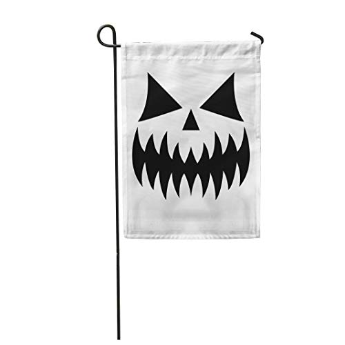 Tarolo Decoration Flag Scary Halloween Pumpkin Face Ghost Monster Mouth Spooky Eyes Nose and Big Teethevil Character for Celebrating Black Thick Fabric Double Sided Home Garden Flag 12
