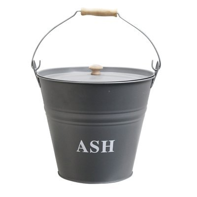 Metal Ash Bucket Storage Bin with Carry Handle & Lid S&MC Homeware