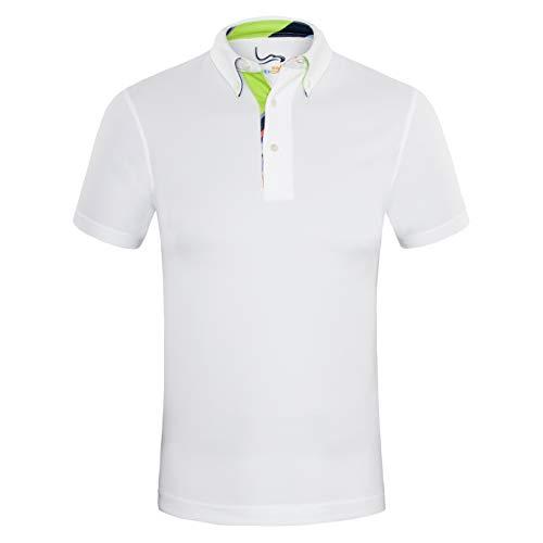 d32e63ca69e EAGEGOF Men s Shirts White Short Sleeve Tech Performance Golf Polo Shirt  Loose Fit X-Small
