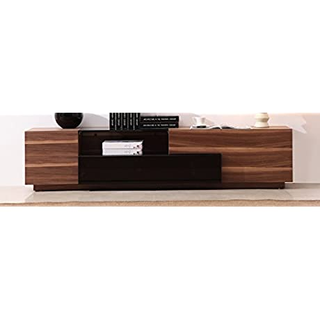 J And M Furniture 17758 TV Stand 015 In Walnut And Black High Gloss
