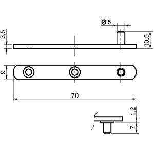 Largeur:9 mm ITAR Pivot droit bouts ronds