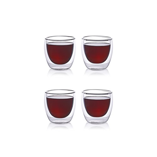 Eparé Espresso Cups, Insulated Glass Demitasse Set (2 oz, 60 ml) – Double Wall Thermal Tumbler Cup – Mug for Drinking Tea, Latte, Lungo, or Cappuccino – 4 Glasses