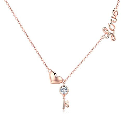 Presentski Rose Gold Love Necklace with Key Pendant Sterling Silver Heart Dainty Necklaces Fashion Jewelry for Women (Gold Key Pendant)
