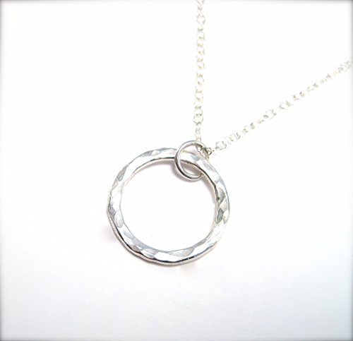- Hammered Silver Circle Pendant Necklace