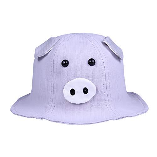 Sun Hat Baby Shusuen Spring Autumn 2019 Fashion Kids Accessories Boy Girl Cute Pig Cartoon Cotton Hat Gray ()