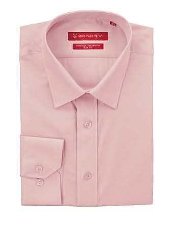 "Gino Valentino Men's Dress Shirt Slim Fit Pure Cotton Barrel Cuff (15"" Neck 33 Sleeve, Light Pink)"
