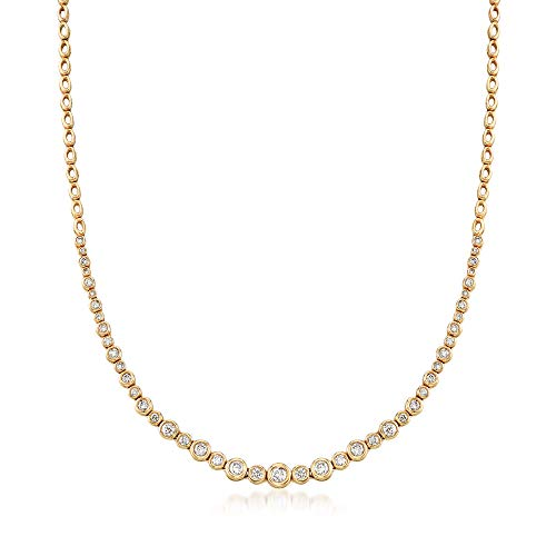 Ross-Simons 2.00 ct. t.w. Graduated Bezel-Set Diamond Necklace in 14kt Yellow Gold