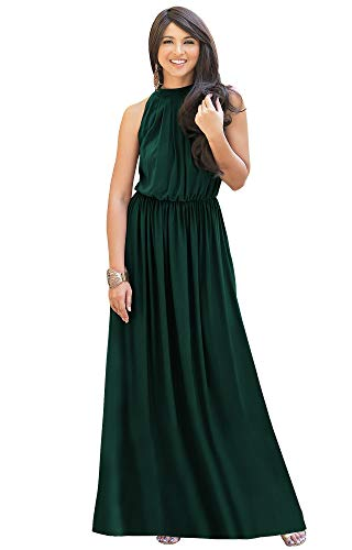 KOH KOH Plus Size Womens Long Sexy Sleeveless Bridesmaid Halter Neck Wedding Party Guest Summer Flowy Casual Brides Formal Evening A-line Gown Gowns Maxi Dress Dresses, Emerald Green XL 14-16