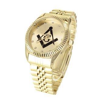 Freemason Symbol Mens Watch 14k Gold Finish Jubilee Band Lab Diamonds Steel Back